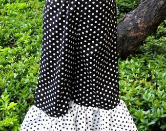 Black And White Polka Dots  Ruffle Pant, Girl Ruffle Pant, Black Ruffle Pant, Polka Dots Pant, Toddler Pant,Girl Pant
