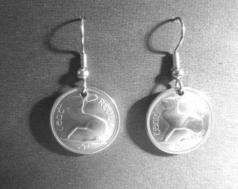 Coin earrings-Vintage Irish Blue Hare coin earrings-free shipping