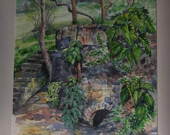 Victorian Ruins, Pigeon Island - Original Watercolour Painting