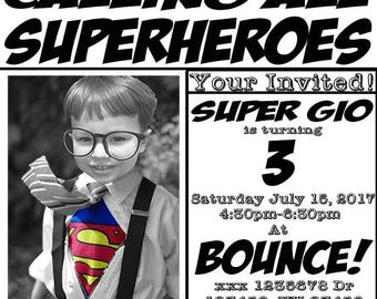 Superhero Newspaper Invitation (Digital File Only)