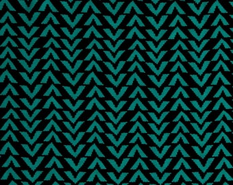 Triangle Stripes in Black & Atlantis Jade - Rayon Challis Fabric