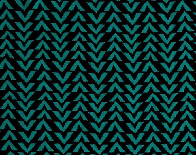 Triangle Stripes in Black & Atlantis Jade - Rayon Challis Fabric