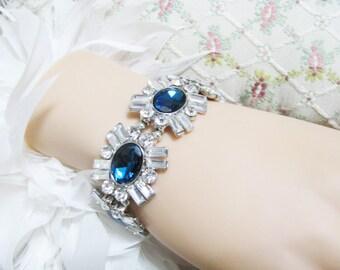 Wedding Bracelet, Pageant Bracelet, TEAL Rhinestone Bracelet, Bridal Bracelet, Wedding,  Jewelry, Rhinestone Jewelry, Bridal Jewelry