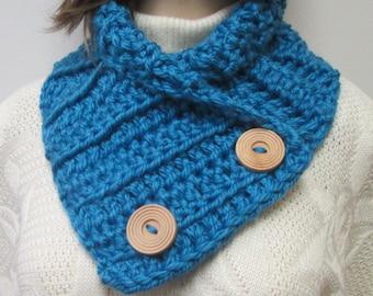 Medium Blue Chunky Scarf, Large Cowl, Fall Chunky Scarf, Fall Knit Scarf, Womans Crochet Scarf, Blue Neckwarmer,Fabiana B1-003