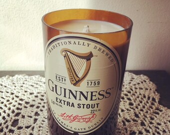 Gin & Tonic Cut Beer Bottle Soy Candle // Guinness Extra Stout