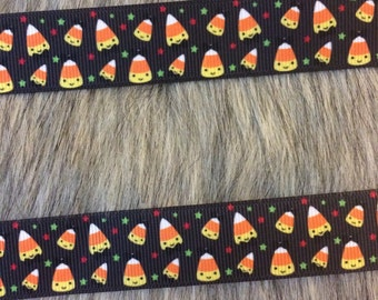 "7/8"" Halloween Candy Corn Grosgrain Ribbon"
