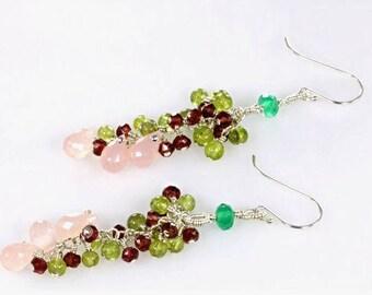 Green Onyx, Peridot, Garnet and Rose Quartz Cluster Earrings, Mixed Gemstone Cluster Earrings