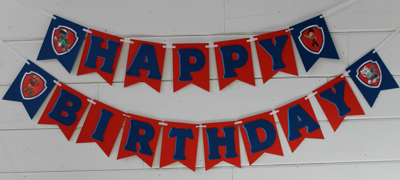 Paw Banner Patrol Happy Birthday