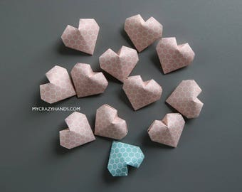 20 honeycomb origami hearts | balloon heart favors || pink wedding || bridal shower favors | gift for her -blush & teal H.