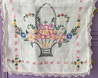 Embroidered Table Runner Flower Basket
