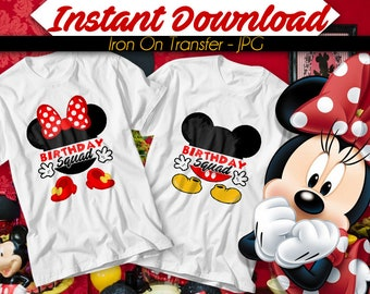 DIGITAL FILE Mickey Mouse Minnie Mouse Iron On Transfer, Birthday Squad, Instant Download, Iron on Transfer - Jpg