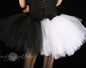 Ying Yang adult tutu mini micro black white skirt Adult halloween costume dance gothic derby --You Choose Size - Sisters of the Moon