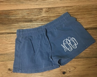 New Comfort Colors Ladies' French Terry Shorts With Embroidered Monogram