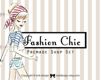Premade Etsy Shop Banner set includes new Cover and shop icon too- Fashion Chic- boutique logo design-fashion- cute-