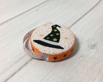 Have A Witchy Halloween (B) Fabric Covered Retractable Tape Measure