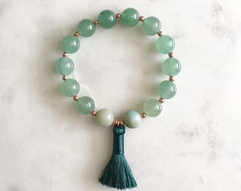 Lucky Mala Bracelet, Stretch Cord - Green Aventurine, Amazonite, Copper, Tassel, 10mm Beads, Luck and Opportunity Healing Crystal Jewelry
