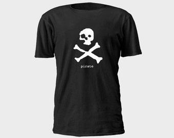 Mens Pirate T-Shirt - Ghost Pirate Skull and Crossbones