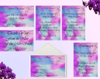 Modern Wedding invitations, Stationery set, watercolour stationery set, invites, save the dates, rsvp, wedding, personalised,
