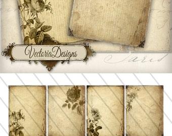 Tattered Flowers ATC vintage images digital background instant download printable collage sheet VD0145