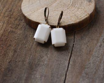 white rectangle earrings, vintage glass earrings, antique brass earrings, minimalist jewelry, art deco earrings