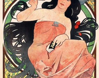 Art Nouveau Job Cigarette Rolling Papers By Alfonse Mucha 1898. Fine Art Print/Poster. (4814)