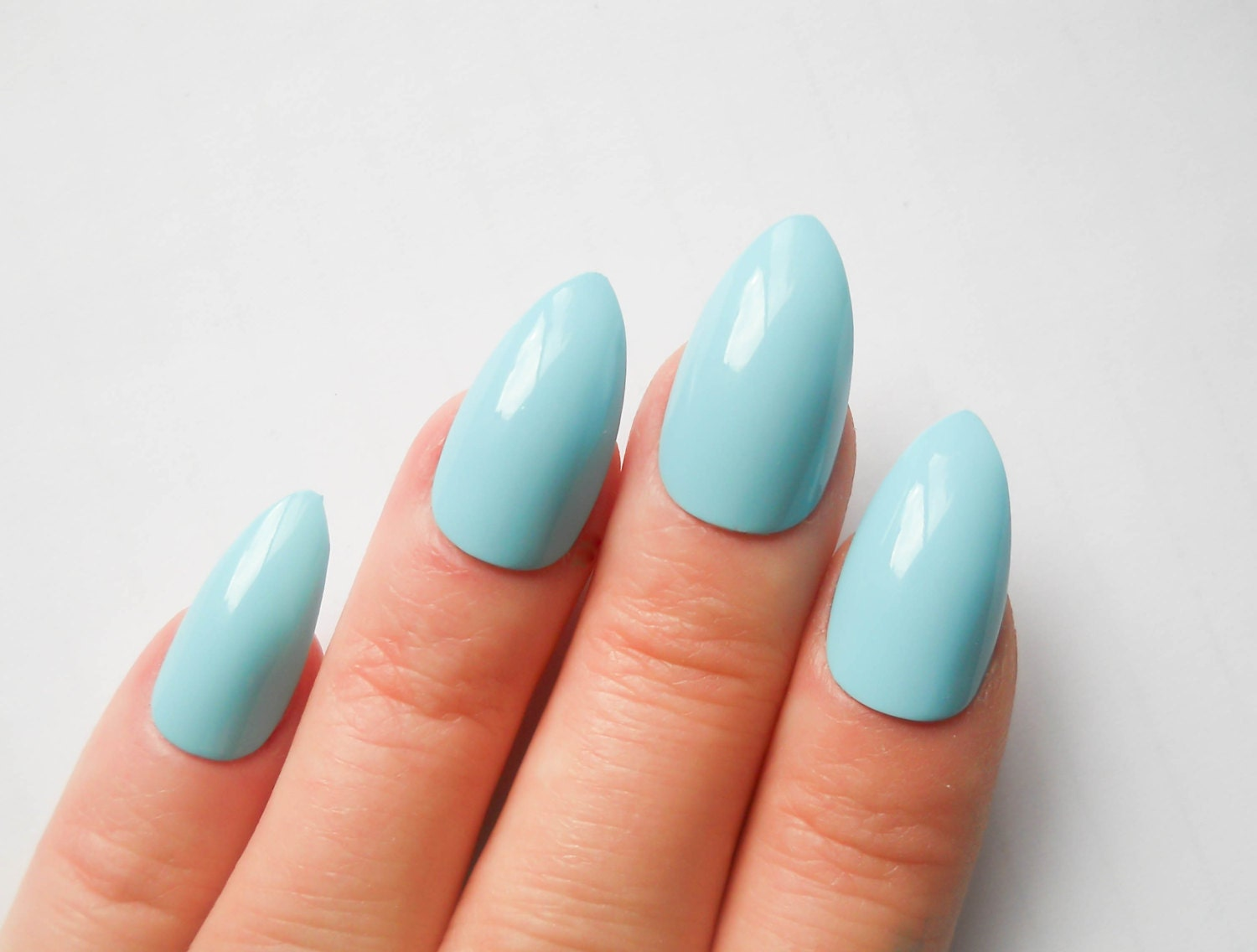 Baby Blue Nails / Fake Nails / Stiletto Nails / Press on Nails