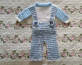 Cute Baby Boy Blue Coverall Set