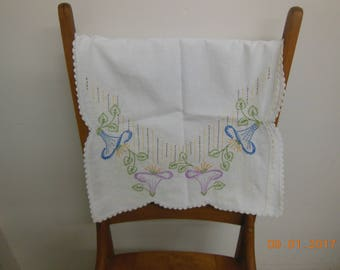 Embroidered table runner purple blue floral