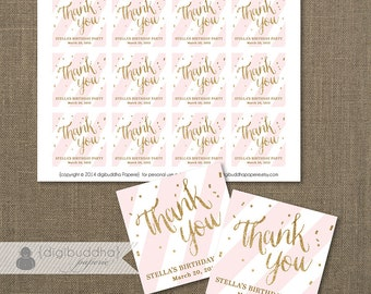 "Pink + Gold FAVOR TAGS Bridal Shower Blush Pink Stripe Wedding Hen Party Labels Thank You Tags 2.25"" Square DIY Printable or Printed- Stella"