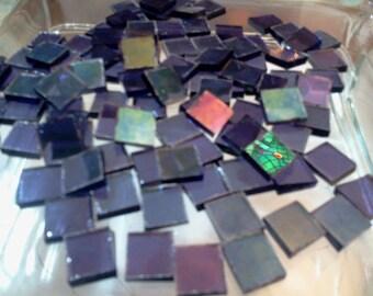 IRIDIZED GRAPE PURPLE Transparent - Stained Glass Mosaic Tiles Z4