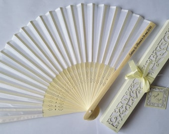 SILK FANS with Gift Box, Hand fan, Bamboo, Wedding Favors, Quinceanera, Bridal Shower, Personalized Free (50- 450)