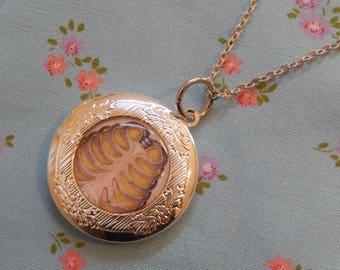 Rib Cage Skeleton Round Silver Plated Locket Pendant Necklace