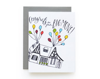 Congrats Big Move - letterpress card