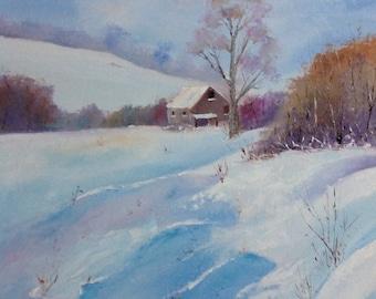 Rustic Field Scene, Snow Painting, Winter Art, Large Painting