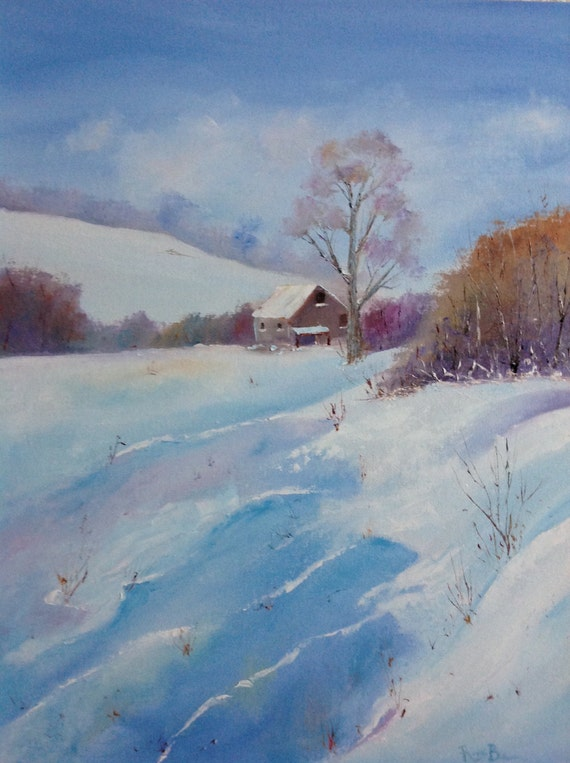 Rustic Field Scene, Snow Painting, Winter Art, Large Painting