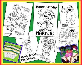 Sesame Street / Elmo Personalized Coloring Book - Emailed To You As A PDF