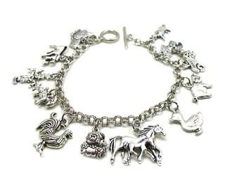 Farm Animals Bracelet, Farm Bracelet, Farm Animal Charms, Farm Animal Jewelry, Animal Lover Bracelet, Barnyard Charm Collection, Farm Charm