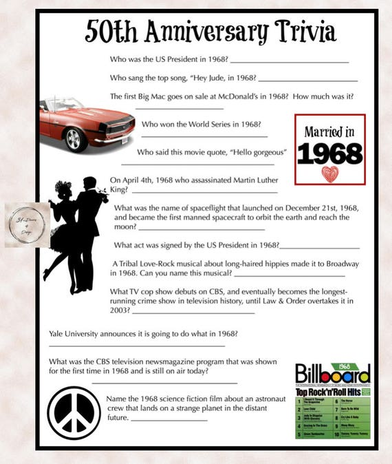 1968 Anniversary Trivia Game 50th Wedding Anniversary Party