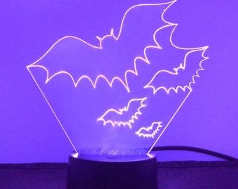 Group of Three Flying Bats LED Acrylic Light