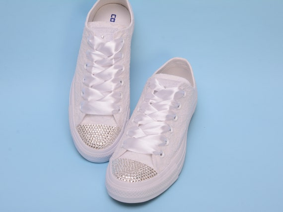Trainers Converse Sneakers for Bling crystal Trainers bride Rhinestone Bling shoes Bling Lace Bride Converse White for with Converse xqT0gWvHw