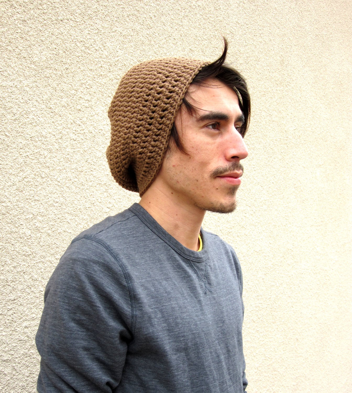 Mens Light Brown Slouchy Hipster Crochet Hat Slouch Beenie