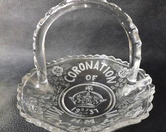 George VI 1937 Coronation Pressed Glass Basket, Queen Mother and George 6 British Monarch Royalty Souvenir UK Royal Family Collectible Gift