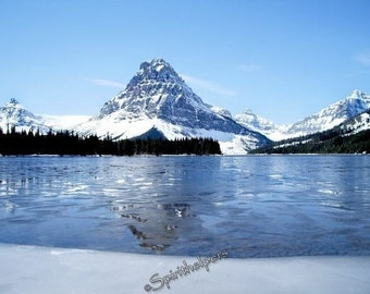 Two Medicine Montana, RIsing Wolf Mountain, Glacier National Park, Spring Break up, Rocky Mountains photograph or greeting card