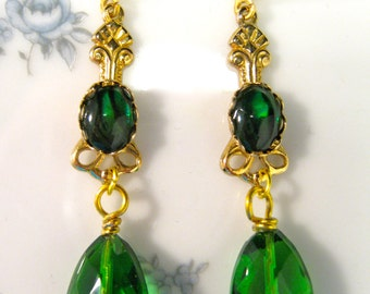Reclaimed Vintage Earrings, Upcycled, Pierced, Jennifer Jones, Bridesmaid Gift, Emerald, Green, Gold, Shabby Chic, Coupon Code, OOAK - ENVY