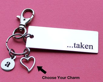 Personalized Love Key Chain Taken Stainless Steel Customized with Your Charm & Initial - K859