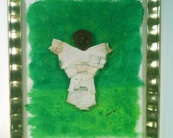 Angel of Green, upcycled cigarette butt litter art