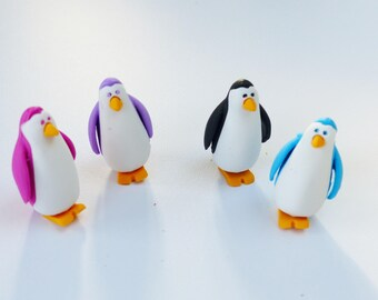 Set of 4 erasers penguins animal fun supply kit