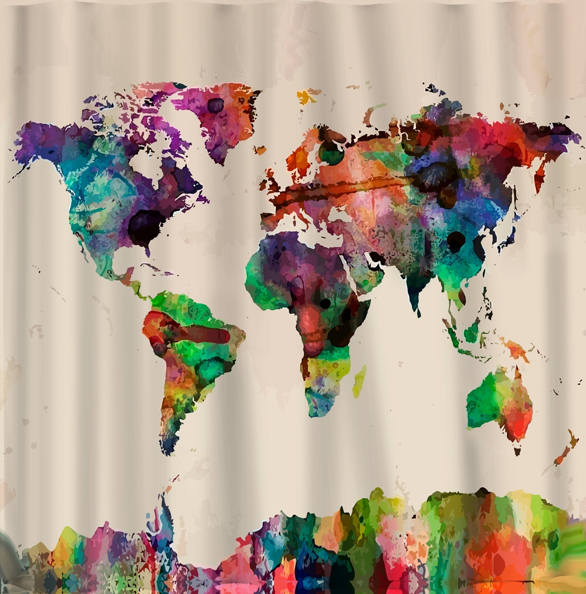 🔎zoom. custom shower curtains watercolor world map standard or