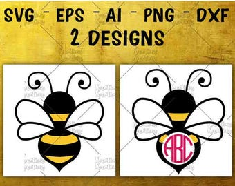 Bee Monogram Frame SVG Bumble Bee Cute Monogram frame cut cuttable cutting files Cricut Silhouette  Instant Download vector SVG png eps dxf