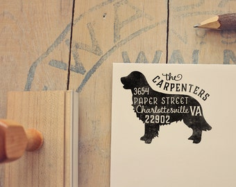 Golden Retriever Dog Return Address Stamp, Housewarming & Dog Lover Gift, Personalized Rubber Stamp, Wood Handle